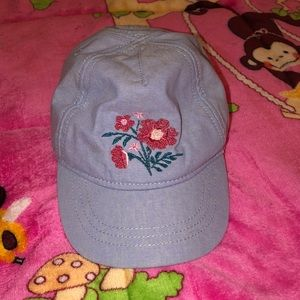 Chambray with floral embroidered decor baby hat